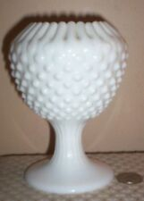 Vintage Fenton Hobnail Ivy White Ball Footed Vase~ Made USA