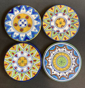"Set of 4 Colorful Hand-Painted Coasters - Mandala Round Geometric 4.5"""