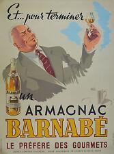 Affiche ancienne entoilée - Armagnac BARNABÉ - Années 1940