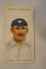 1908 Vintage Wills Cricket Card - George H. Hirst - Yorkshire.
