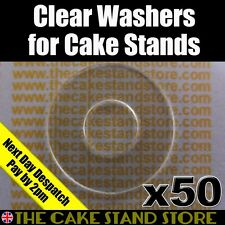 50 x Clear/Transparent Plastic/PET M6 / 0.5mm Thick Cake Stand Set Washers