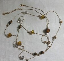 """GT Metal Yellow Glass Bead Clear Crystal Tigers Eye Stone Bead 64.5"""" Necklace"""