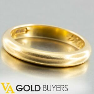 1914 Antique Edwardian 18K Yellow Gold Women's Domed D-Shaped Wedding Band