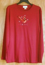 Women's XL red knit top with cardinal  - New with tags