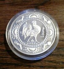 2005 Mongolia 500 Togrog rooster 1 oz .999 silver new in original case