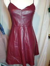 f6bddb2e8d0 Forever 21 Faux Leather Fit Flare Short Cami Dress Sm Red Burgundy MSRP   24.80