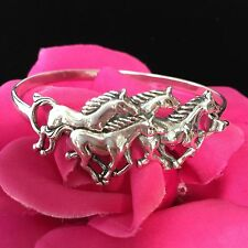New Southwest wild Horses family Sterling silver Bangle Horses Bracelet size 7""