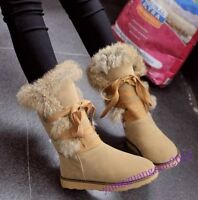New Fashion Winter Warm Women Shoes Mid Calf Boots Fur Lined Lace Up Snow Lady