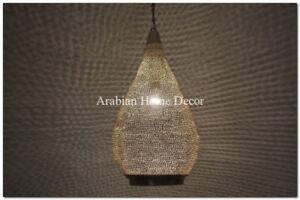 "24"" Height Moroccan Silver Plated Brass Pinholes Hanging Lamp Light Lantern"