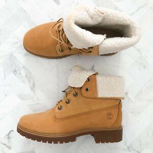 TIMBERLAND Jayne Waterproof Fleece Fold Down Boots Size 8