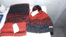 lot bonnet + echarpe Barts Lester à rayures tricot beanie neuf