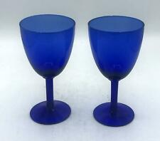 Pair of 2 Cobalt Blue Glass Wine Glasses/Water Goblet