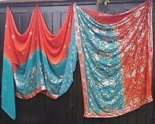 Fairtrade Teal & Orange Dip-Dye Gold Sequined Sari Fabric Bohemian Window Swag