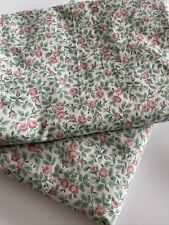 Pair Vintage SANDERSON Rose Fabric Single Duvet Cover Green Made In England