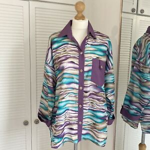 Park Place Vintage Blouse Size Large 3/4 Sleeve Vintage Wave Abstract Artsy