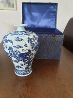 Oriental Meiping Plum Qianlong Style Blue & White Dragon Porcelain Vase