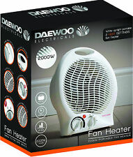 Daewoo Branded White Small Quiet Portable 2Kw 2000W Electric Upright Fan Heater