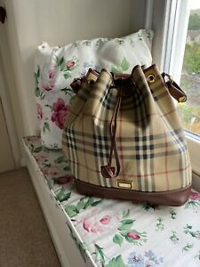 Burberry Noe Tote Bucket Drawstring Bag Check