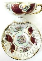 Vintage Royal Sealy China Japan Pedestal Footed Cup & Reticulated Saucer