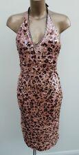 Karen Millen All Sequin Pink Brown Halter Evening Sparkly Party Dress Size 10