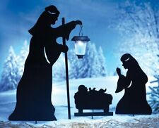 Outdoor Solar Christmas Decorations, Nativity Shadow with LED Lighted Lantern