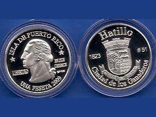 Silver PESETA HATILLO DEL CORAZON 2009 Puerto Rico Boricua Quarter 1/100 Plata