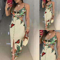 Women Spaghetti Strap Tropical Print Cutout Dress Sleeveless Casual Dresses GIFT