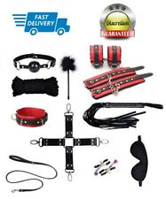 14pcs Black & Red Leather Bondage Sex Set Kit Restraint Flirt Cuff Collar Whip