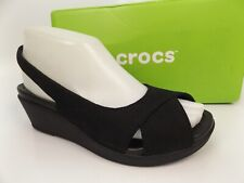 Damen Crocs Leigh Ii Ankle Strap Wedge Sandalen Schwarz