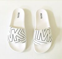 Women Michael Kors MK Gilmore Slide Slip On Sandals PU Optic White/Black