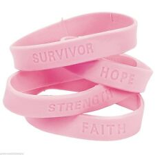 Breast Cancer Awareness Bracelet - Lot of 144 Pink Sayings Rubber Bracelets