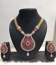 Bollywood CZ Gold Plated Indian Designer Fashion Ethnic Jewelry Necklace Set