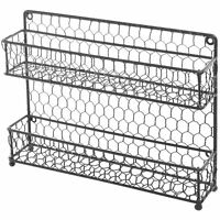 Country Style Black Dual Tier Wire Kitchen Counter-top or Wall Mount Spice Rack