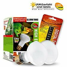 2-Pack Reptile Heat Lamp Bulb/Light, Uva Basking Spot For Lizard Tortoise, &amp