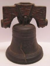 Old Cast Iron Figural Liberty Bell Promotional Coin Bank - Pass & Stow