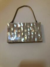 Vintage Elegant Mother of Pearl Compact Purse & Cigarette with Gold Tone Chain