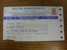 22/02/1995 Ticket: Football League Cup Semi-Final, Bolton Wanderers v Swindon To