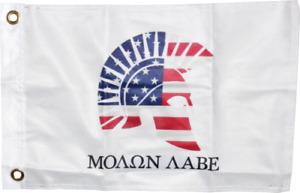 USA Molon Labe American White 12x18 Boat Flag Spartan Patriot 2nd Amendment