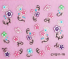 Nailart stickers ongles autocollants: roses multicolores design