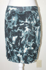 ANN TAYLOR Womens Sz 6 Abstract Silk Ruffle Sarong Front Lined Skirt