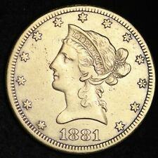 1881-CC Gold $10 Dollar Eagle CHOICE AU FREE SHIPPING E379 ACMMT