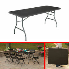 Office Centerfold Folding Table Black 6 Foot Portable Plastic Home Party Cosco