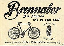 Gebr. Reichstein Brandenburg a/H. Brennabor Fahrrad Historische Reklame 1900