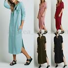 S-5XL Zanzea Women's Long Sleeve Button Down Shirt Dress Irregular Split Kaftan