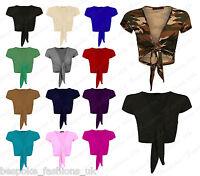 H12C Womens Ladies Cap Sleeve Tie Up Front Cropped Bolero Shrug Cardigan 8 - 22