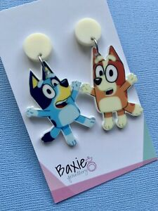 Bingo And Bluey Style Dangle Earrings, Surgical Steel Stud, Cream Acrylic, Dog