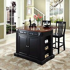 "Bar Top Kitchen Island In Black Finish With 24"" Black School House Stools New"