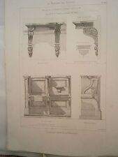 Planche gravure mobilier d'église  Chapelle St Denis console / stalles des coeur