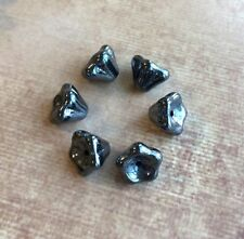 pack of 30 Czech glass pressed beads gun metal mini flowers 5x8mm