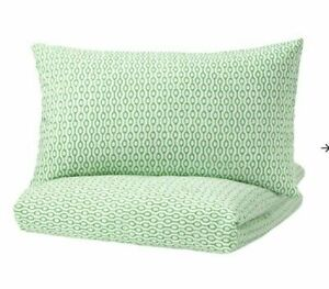 Ikea RODVED King size Duvet Cover & 2 Pillowcases - Green/White